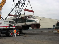 Amtrak Cascades 467 in Yard for wheel and truck replacement